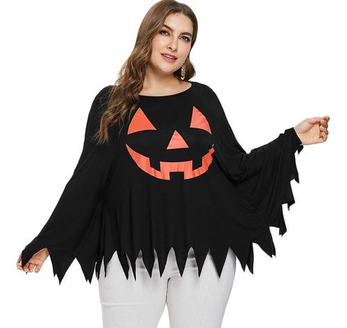 camiseta de manga larga poncho halloween tallas grandes