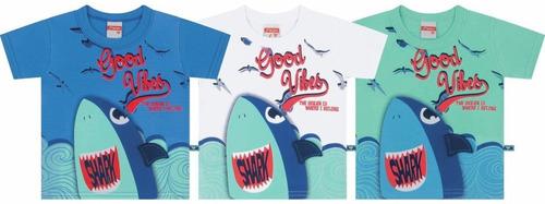 camiseta de meia malha penteada tubarão