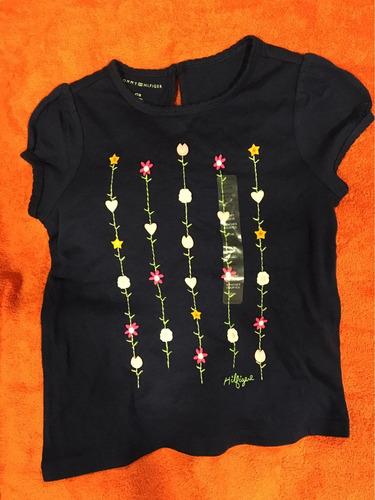 camiseta de niña tommy hilfiger talla 4t color azul con flor