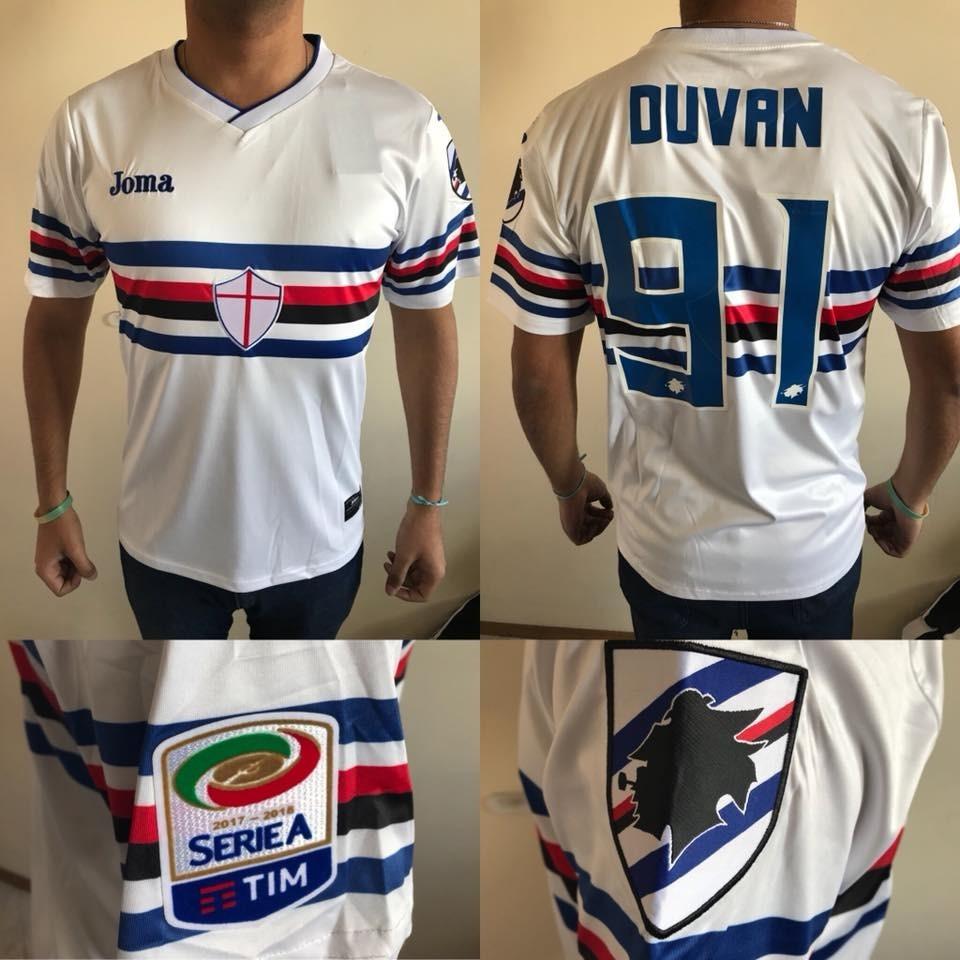 Camiseta De Sampdoria Suplente Joma 2018 -  91 Duvan -   1.500 87551f90f0eb0