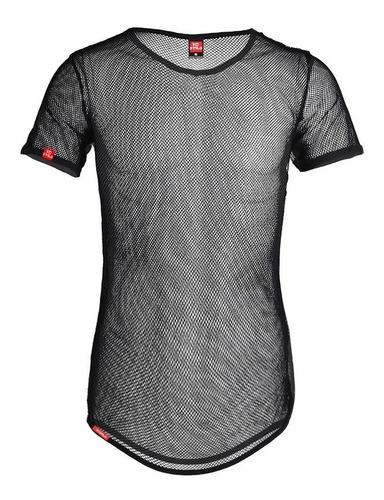 camiseta de tela transparente longline masculina c85 vcstilo