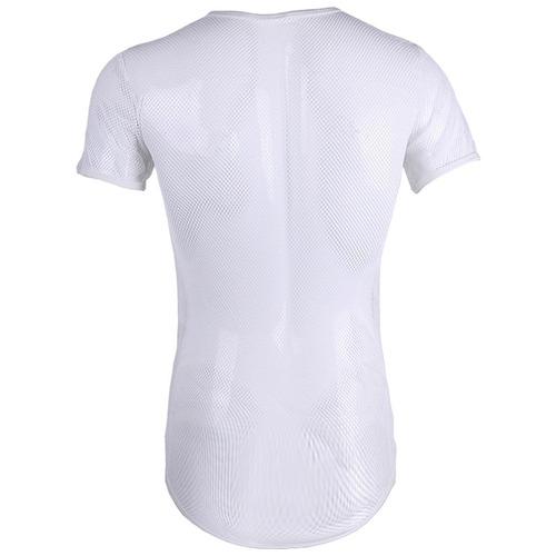 camiseta de tela transparente masculina preta