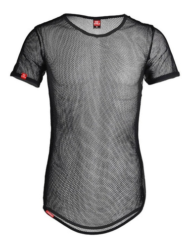 camiseta de tela transparente masculina preta c85