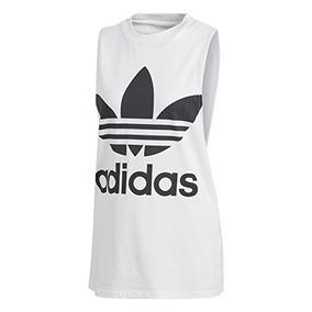 Adidas Camiseta De Tirantes Con Estampado Blanco Mujer