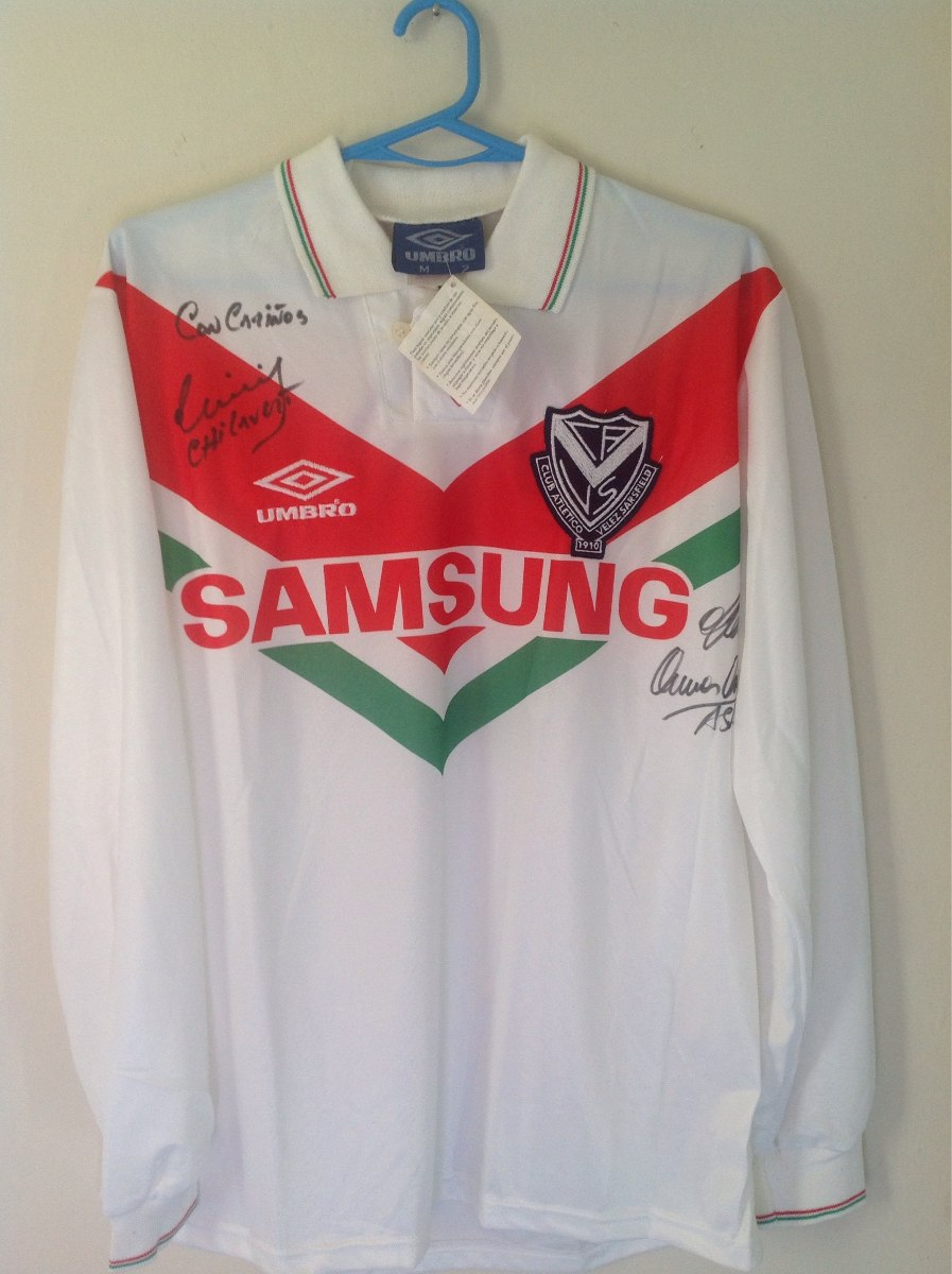 a9bb6fcff89 camiseta de velez sarsfield 1994 umbro nueva tricolor firma. Cargando zoom.