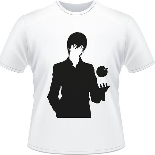 camiseta death note kira shadow ryuuku misa caderno l camisa