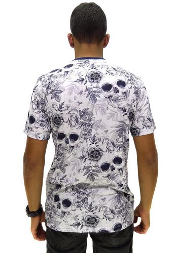 camiseta double g floral skull sem capuz white