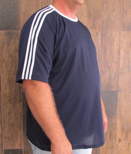 camiseta dry fit com listras tamanho grande - malha fria