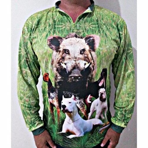 camiseta dry fit manga longa caçadores brs -cães 1