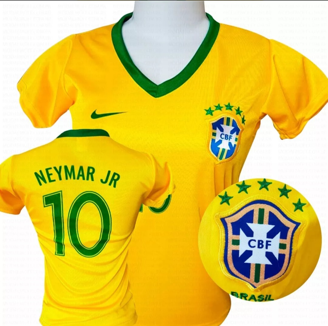 camiseta e blusa do brasil feminina seleção brasileira 2018. Carregando  zoom. b57bf424dbac4