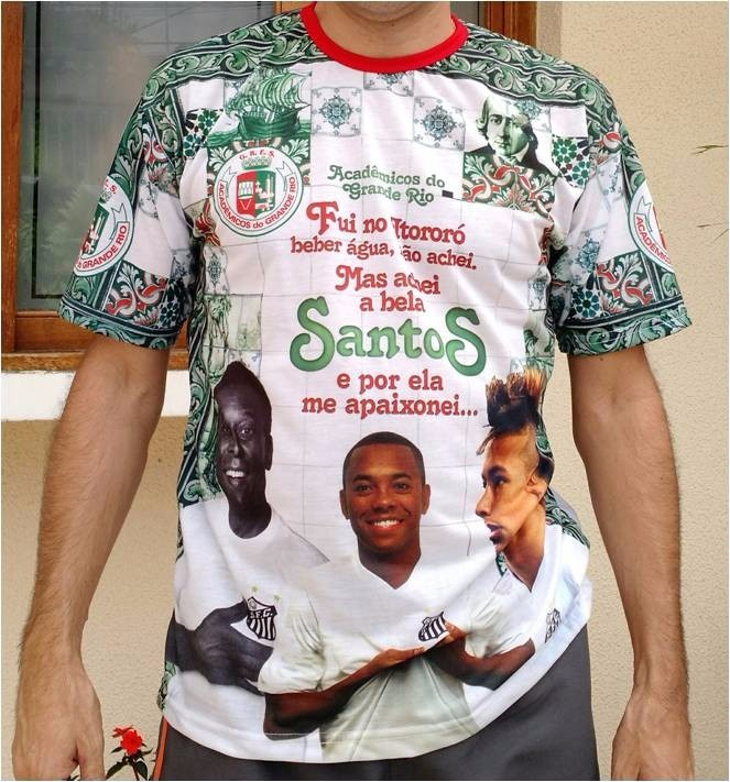 b96c71dfcc Camiseta Escola Samba Grande Rio 2016 - Homenagem Santos Fc - R  200 ...