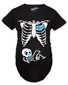 ce82a4d15 Camiseta Esqueleto Maternidad Halloween Disfraz Large Azul