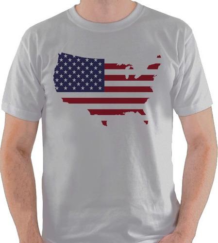 camiseta estados unidos bandeira mapa eua usa camisa blusa