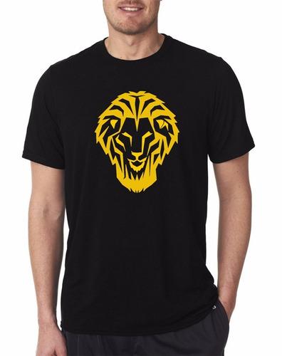 camiseta estampada león bilbaíno negro / dorado