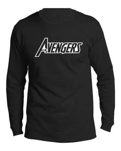 camiseta estampada manga larga avengers