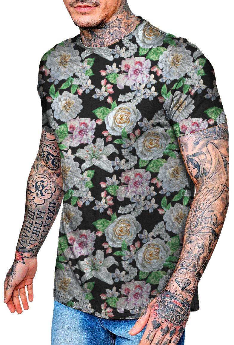 8331f2f00 camiseta estilosa desenho de flor tropical - top. Carregando zoom.