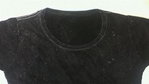 camiseta estonada e marmorizada preta lisa kit de 30 peças