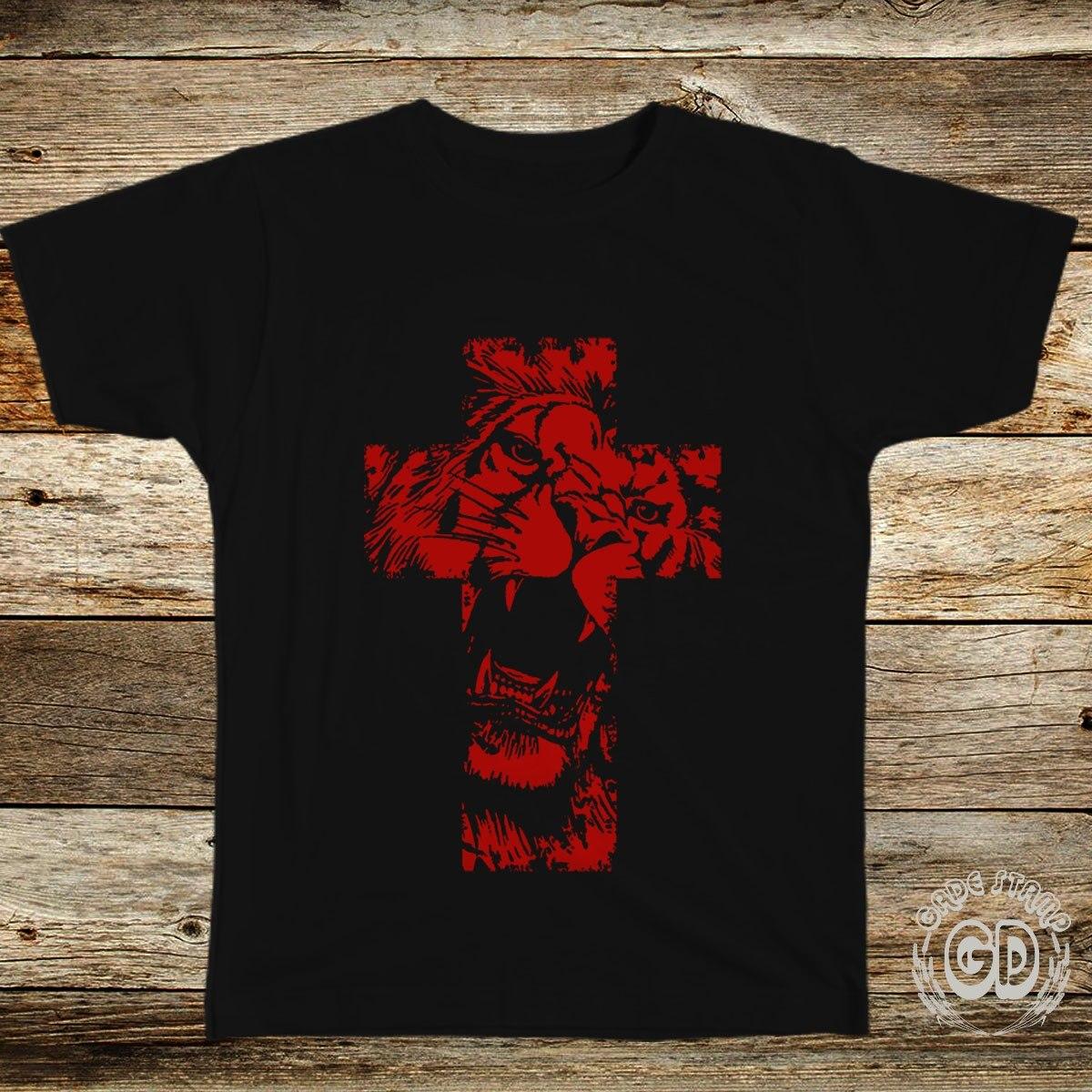 c82962a1c camiseta evangélica gospel cristã unissex leão na cruz. Carregando zoom.