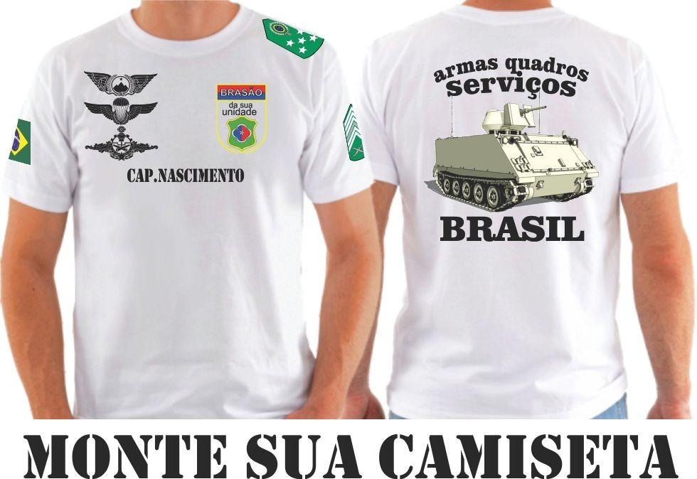 Camiseta Exército Forças Armadas Personalizada Monte A Sua - R  38 ... 08eb4e0fedc