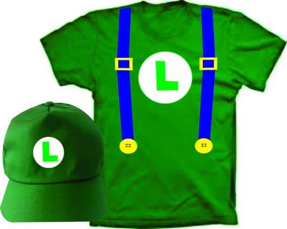 Camiseta Fantasia Luigi E Boné - Super Mario Bros - R  74 87ad85b1cc2