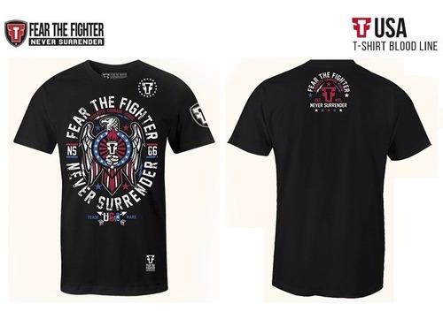 camiseta fear the fighter usa preta