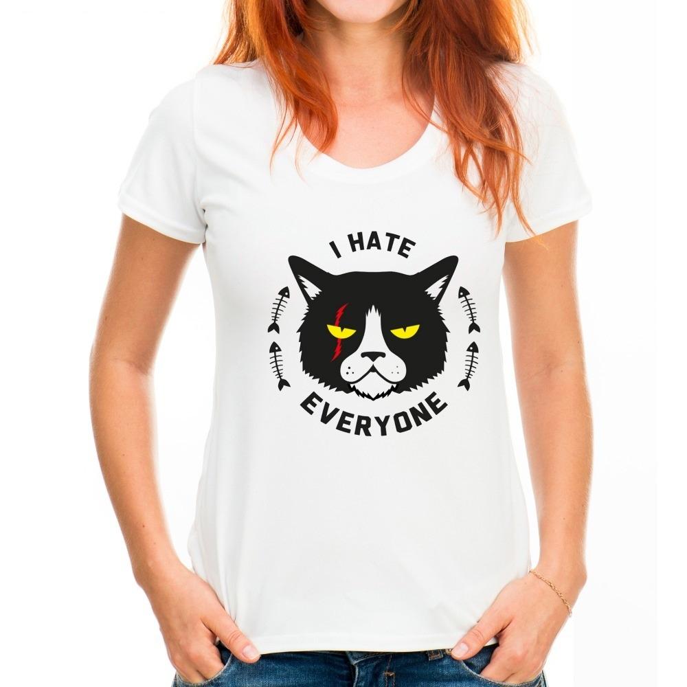 camiseta feminina algodão blusa gato odeio todo mundo tumblr. Carregando  zoom. 90504714783