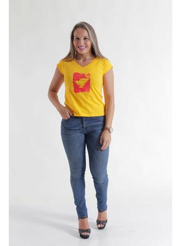camiseta feminina amarela hfb