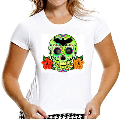 camiseta feminina baby look caveiras mexicanas sugar skull