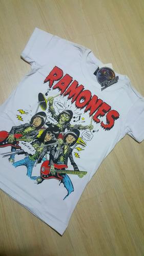 camiseta feminina baby-look stamp rock banda ramones