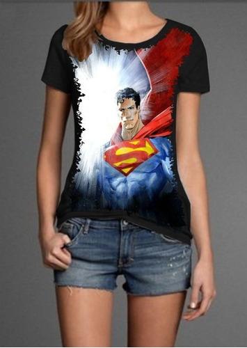 camiseta feminina baby look superman super homen s-59