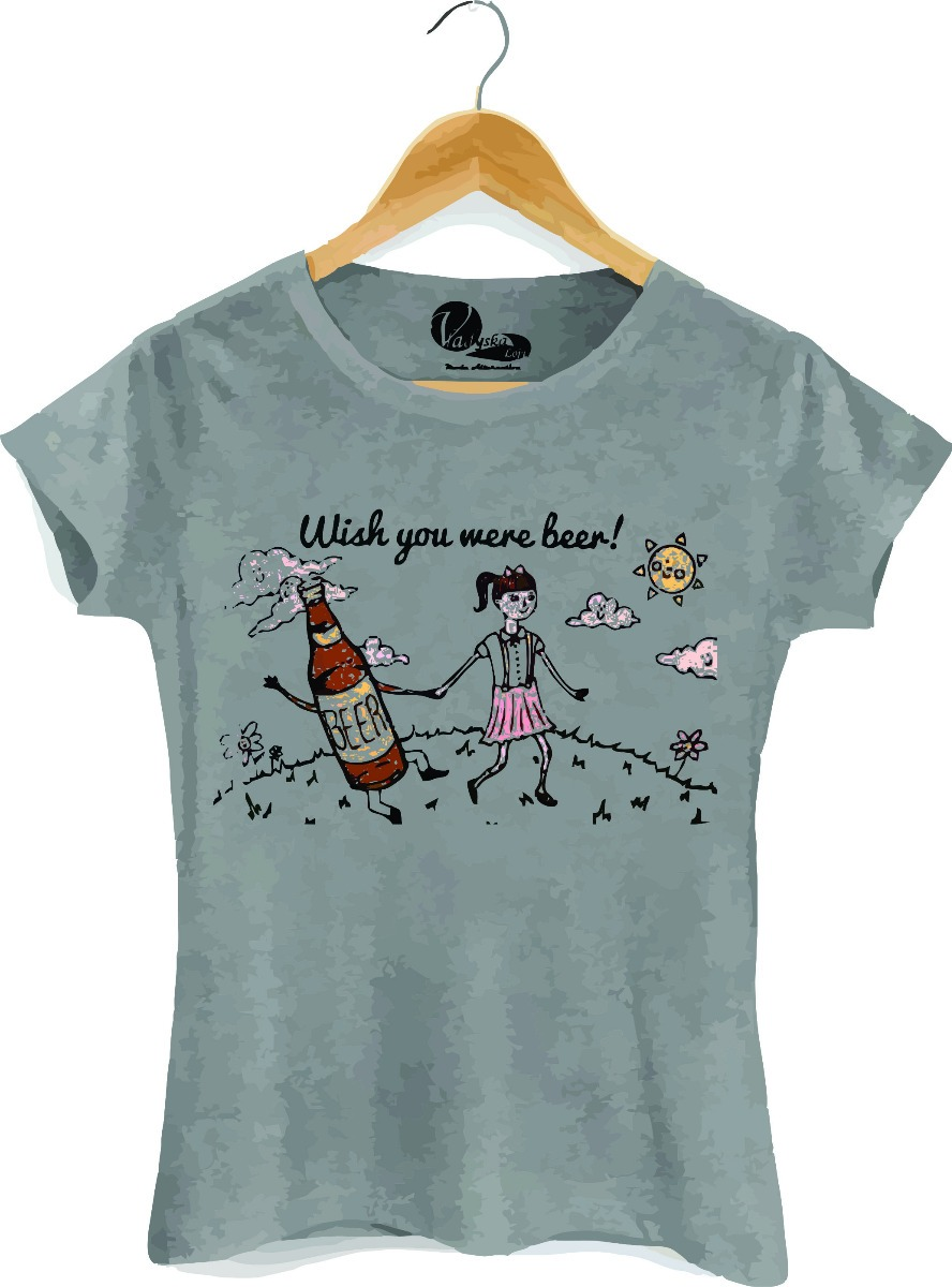 bb8598b55271a camiseta feminina baby look wish you were beer blusa. Carregando zoom.