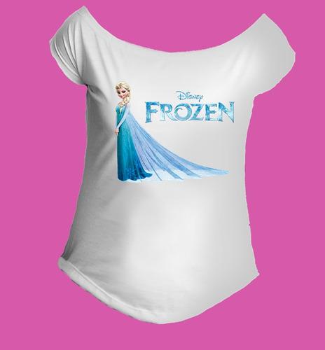 camiseta feminina babylook gola canoa elsa frozen - 02