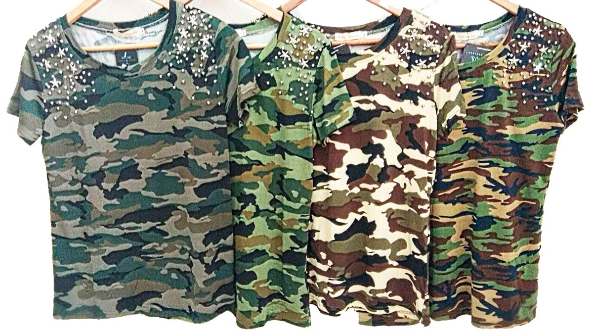 e99f894612 camiseta feminina blusa militar com pedraria camuflada 773. Carregando zoom.