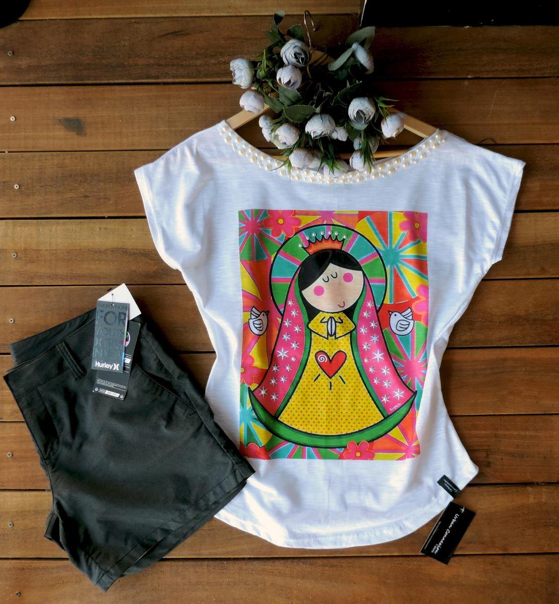 2ccbc6715 Camiseta - Feminina Blusa T-shirt - Nossa Senhora - Pedras - R  68 ...