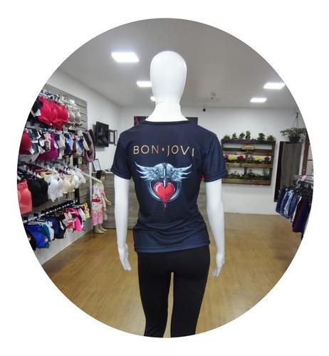 camiseta feminina bon jovi baby look roupas blusa 3d