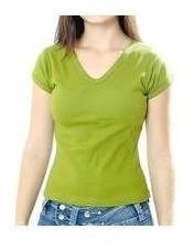 camiseta feminina branca canelada gola v