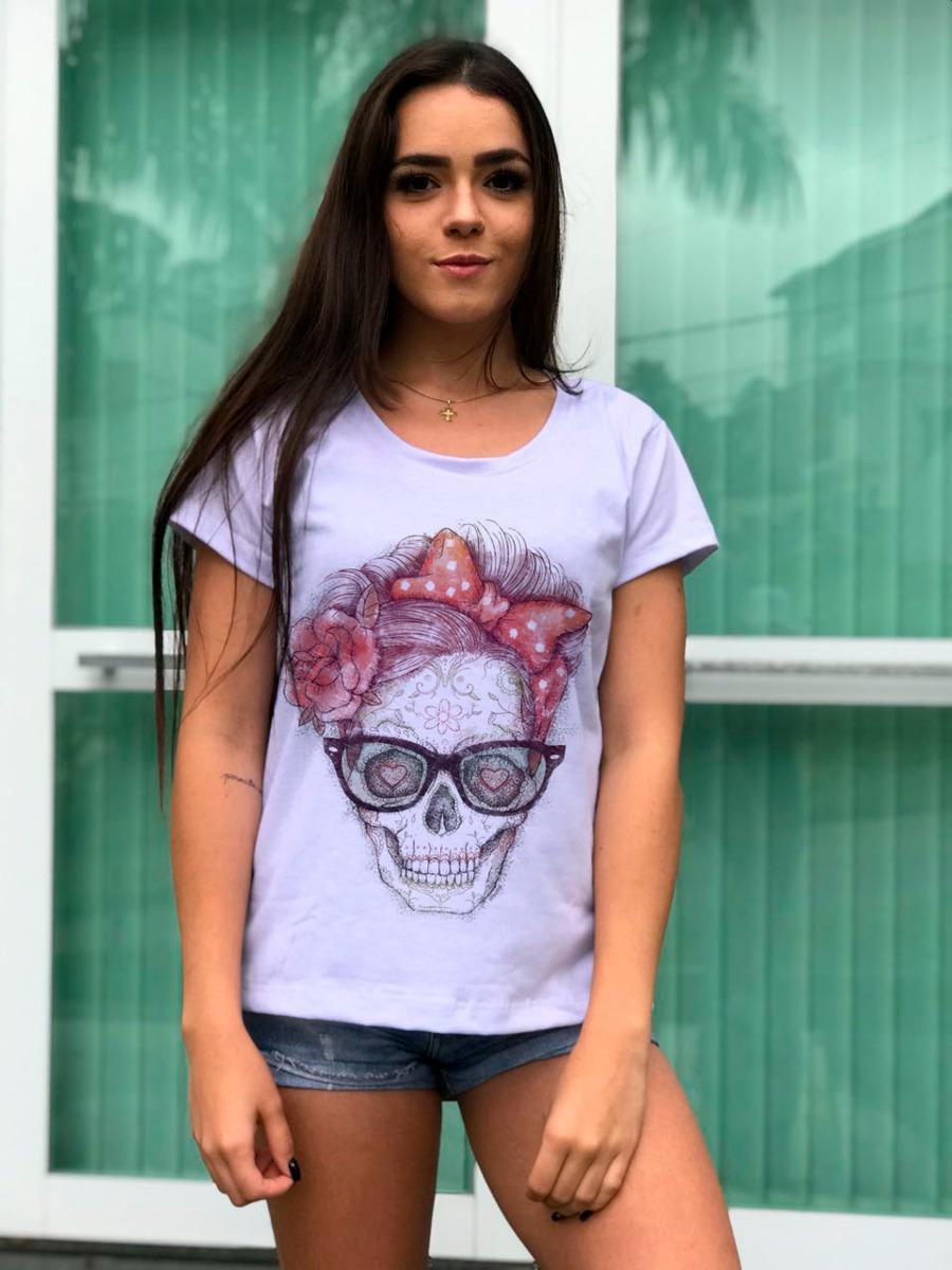 d528f2f510743 Camiseta Feminina Caveira Com Óculos Oferta Frete Grátis - R  84,90 ...