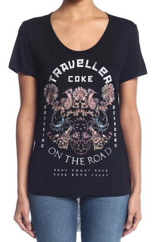 camiseta feminina coca-cola jeans estampada mullet 343202277
