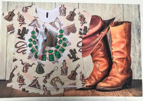 camiseta feminina country esmeralda cavalo baby look bruta
