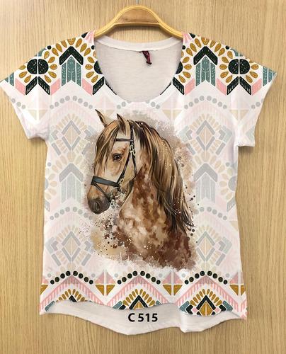 camiseta feminina desenho cavalo branco country tshirt