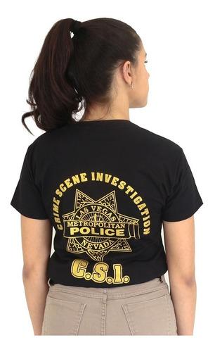 camiseta feminina estampada baby look c.s.i   preta - atack