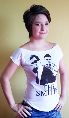 camiseta feminina gola canoa the smiths anos 80 rock - 002