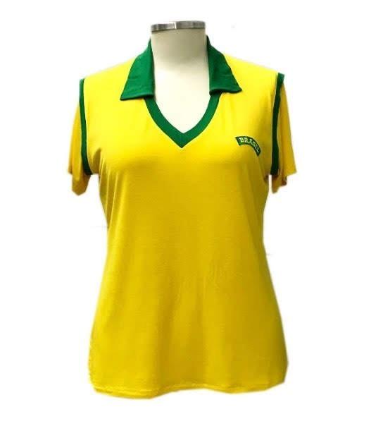33f9420e46 Camiseta Feminina Gola Polo Verde E Amarela Do Brasil - R  79
