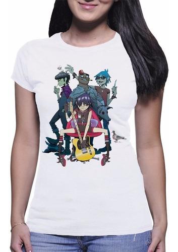 camiseta feminina gorillaz banda pop rock metal nerd musica