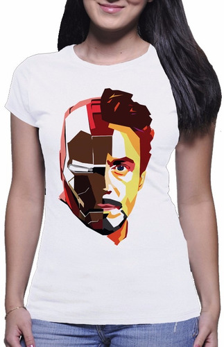 camiseta feminina iron man tony stark homem de ferro #1