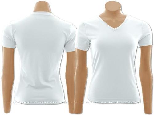 camiseta feminina manga curta baby look gola v algodão