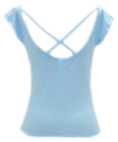 camiseta feminina manga curta detalhe atrás tam gg ref 1102