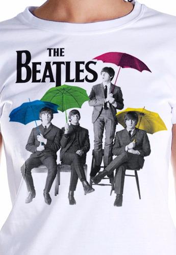 camiseta feminina oficial the beatles umbrella colors bandup
