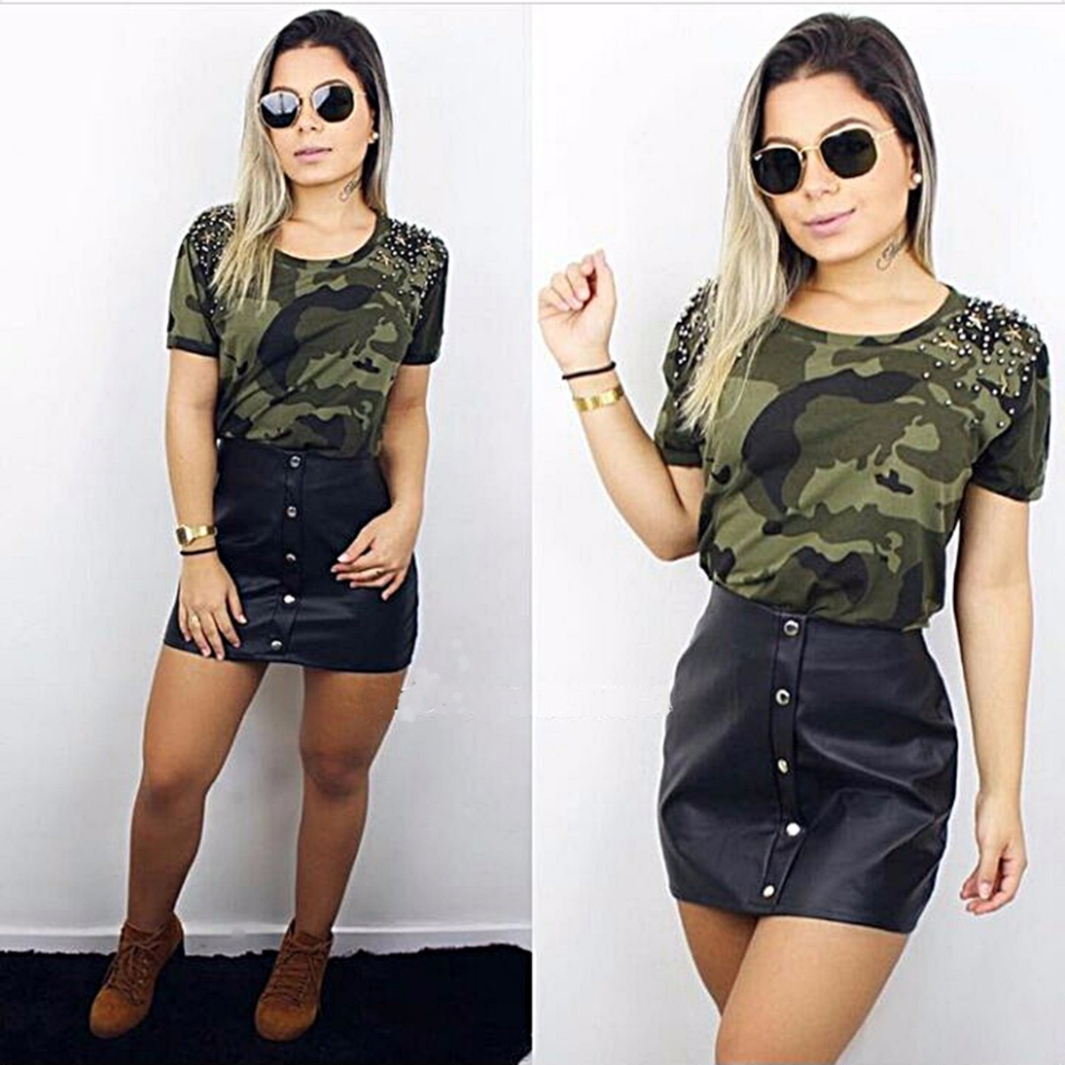 97558df059 camiseta feminina pedraria estampa camuflada tendencia 2805. Carregando zoom .