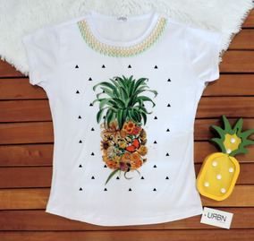 6670f6a26 T Shirt Estampa Abacaxi - Calçados, Roupas e Bolsas com o Melhores Preços no  Mercado Livre Brasil